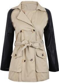 Khaki Contrast PU Leather Long Sleeve Belt Coat