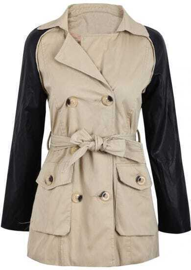 Khaki Contrast PU Leather Long Sleeve Belt Coat