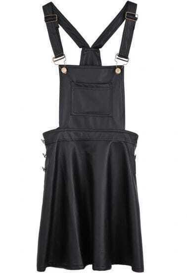 Black Spaghetti Strap Pockets Pleated PU Dress