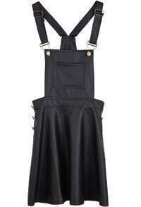 Black Spaghetti Strap Pockets Pleated PU Dress