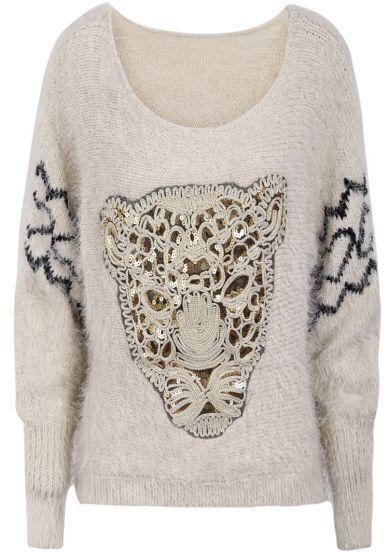Apricot Long Sleeve Leopard Pattern Shaggy Sweater