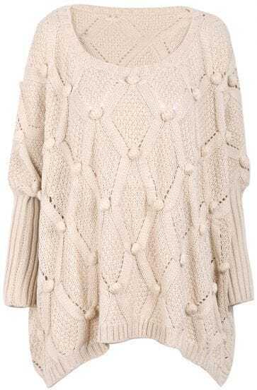 Apricot Long Sleeve Twisted Ball Diamond Patterned Sweater