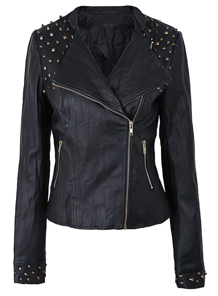 Black Spiked Shoulder Faux Leather Moto Jacket Shein