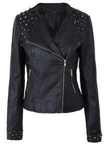 Black Spiked Shoulder Faux Leather Moto Jacket
