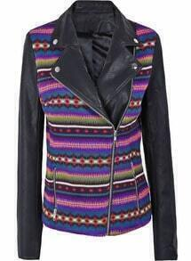 Purple and Red Tribal Print Contrast PU Leather Sleeve Moto Jacket