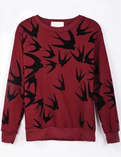 Wine Red Long Sleeve Swallow Print Loose Sweatshirt