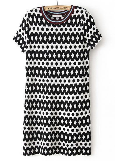 Black White Geometric Print Short Sleeve Sweater Dress