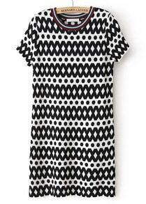 Black White Geometric Print Short Sleeve Sweater Dress