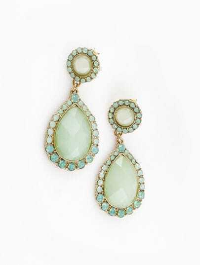 Green Gemstone Gold Crystal Stud Earrings