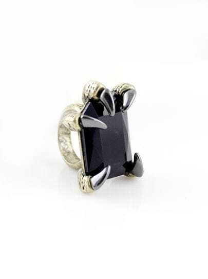 Black Gemstone Gold Claw Ring