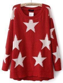 Red Long Sleeve Stars Pattern Knit Sweater