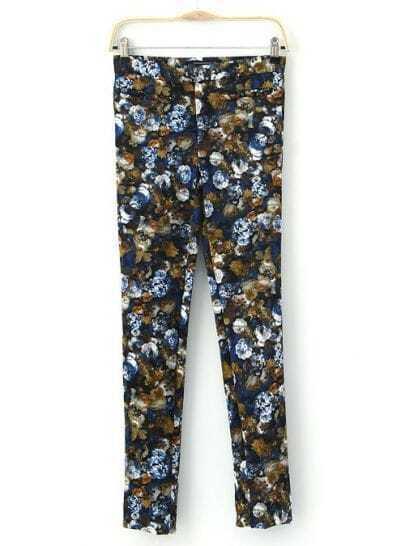 Blue Slim Floral Pant