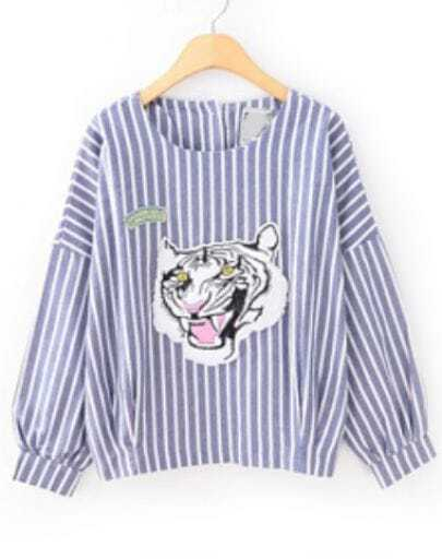 Blue White Vertical Stripe Tiger Print Blouse