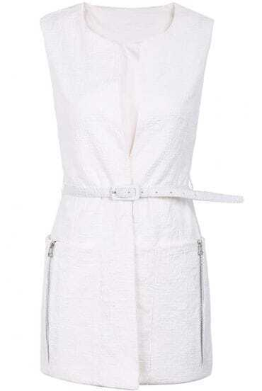 White Sleeveless Zipper Belt Vest