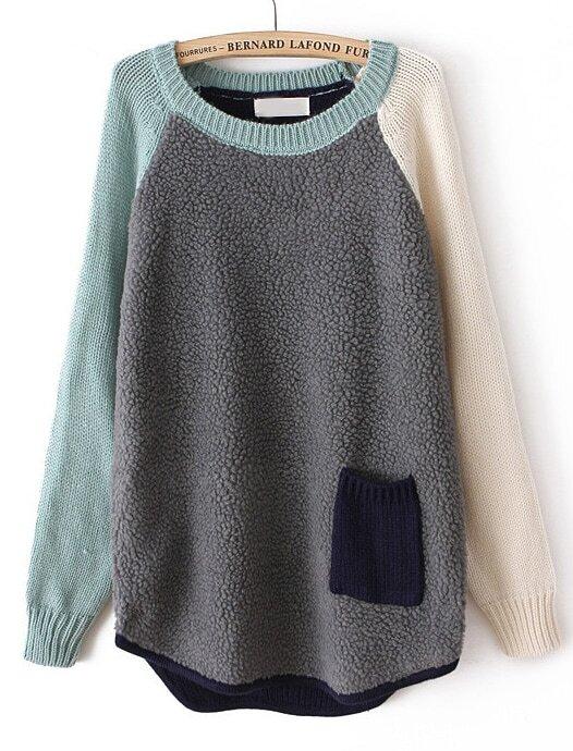 Grey Contrast Long Sleeve Pocket Loose Sweater -SheIn(Sheinside)