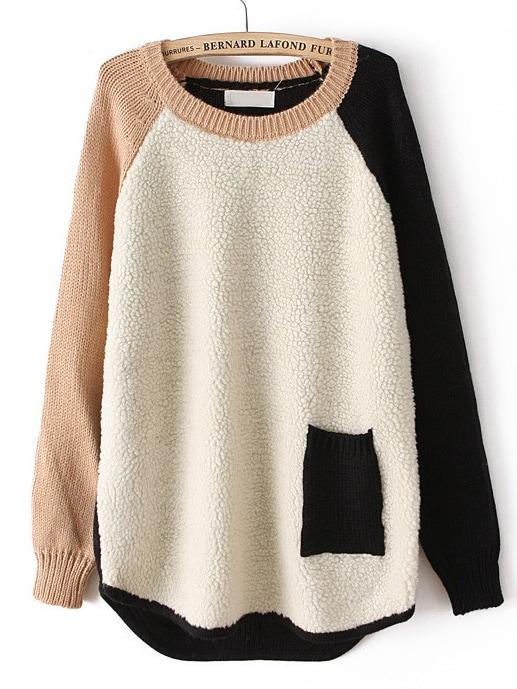 Beige Contrast Long Sleeve Pocket Loose Sweater -SheIn(Sheinside)