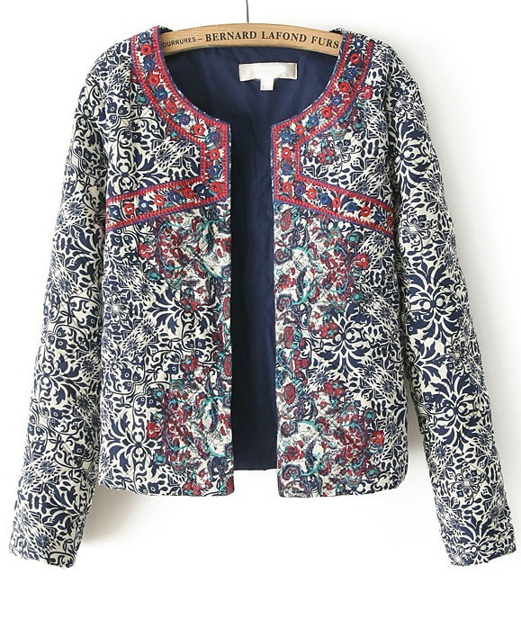 Navy Long Sleeve Embroidered Porcelain Print Jacket SheIn