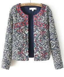 Navy Long Sleeve Embroidered Porcelain Print Jacket