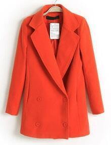 Red Lapel Double Breasted Slim Trench Coat