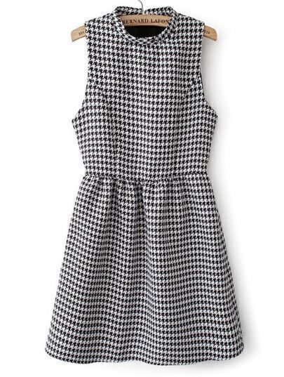Black White Sleeveless Houndstooth Flare Dress