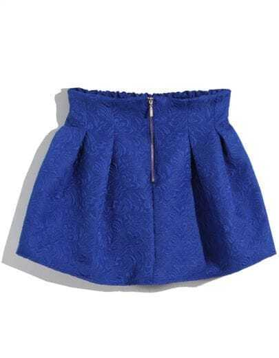 Blue High Waist Zipper Embroidered Skirt