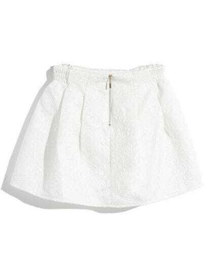 Falda bordada cintura alta-Blanco