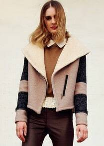 Khaki Contrast Beige Lapel Long Sleeve Crop Coat