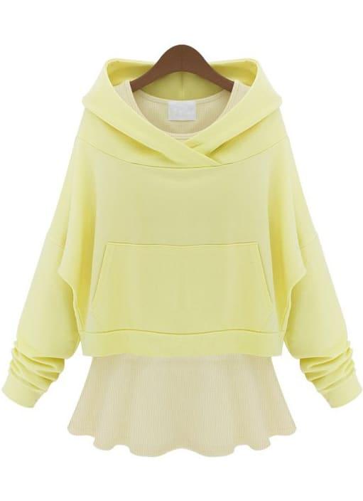 Yellow Hooded Long Sleeve Sweatshirt With Ruffle Dress -SheIn(Sheinside