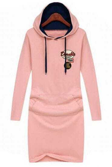 Pink Hooded Long Sleeve Sign Pockets Dress