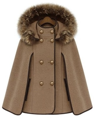 Camel Detachable Fur Lined Hood Contrast Trims Cape $43.33 AT vintagedancer.com