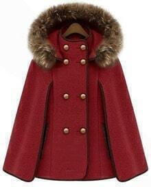 Red Detachable Fur Lined Hood Contrast Trims Cape