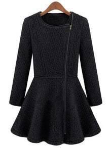 Black Round Neck Side Zipper Placket Flare Hem Coat