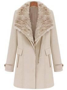 Light Pink Detachable Fur Collar Vest Wide Lapel Zipper Coat
