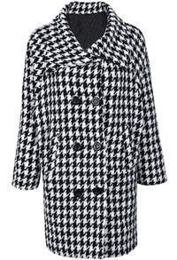 Black White Houndstooth Long Sleeve Double Breasted Coat