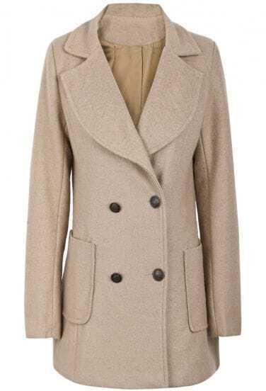 Abrigo de lana solapa bolsillos manga larga-Camello