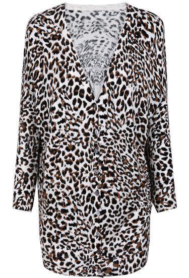 Leopard V Neck Long Sleeve Lion Pattern Sweater