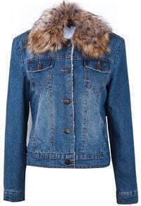 Dark Blue Fur Collar Long Sleeve Ripped Crop Jacket