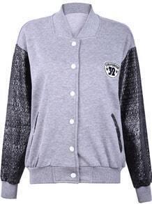 Grey Contrast Stars Leather Long Sleeve Jacket