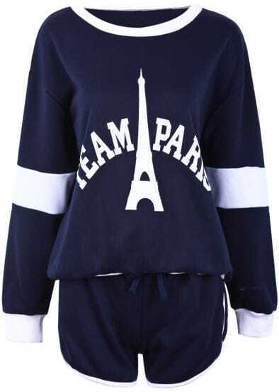 Blue Long Sleeve Eiffel Tower Letters Print Top With Shorts