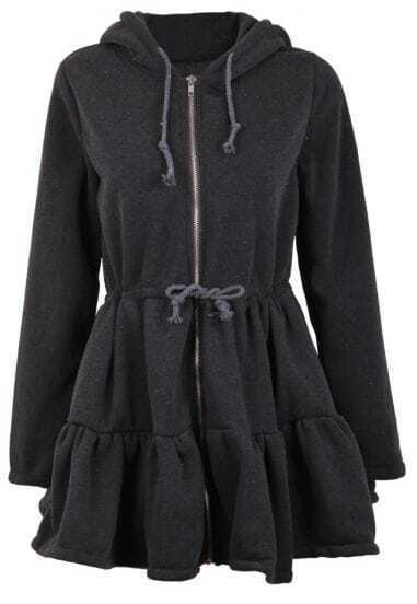 Black Rabbit Ear Hood Ruffle Hem Drawstring Coat