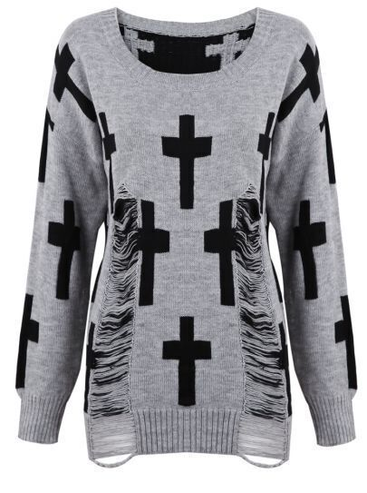 Grey Round Neck Cross Print Ripped Sweater