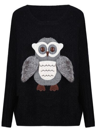 Black Round Neck Patched Fur Wing Owl Sweater