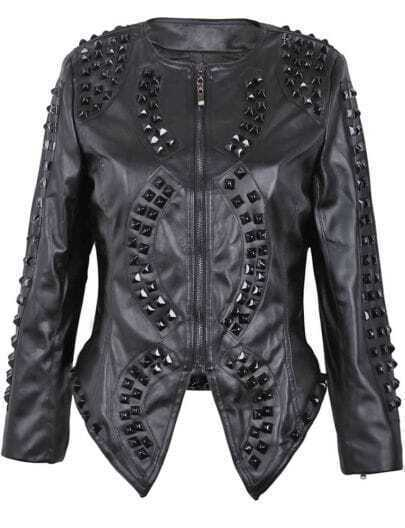 Black Faux Leather Studded Embellishment Crop Biker Jacket