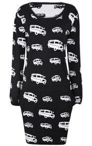 Black Car Print Sweater with Short Skirt