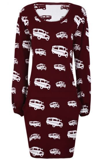 Burgundy Car Print Sweater with Short Skirt