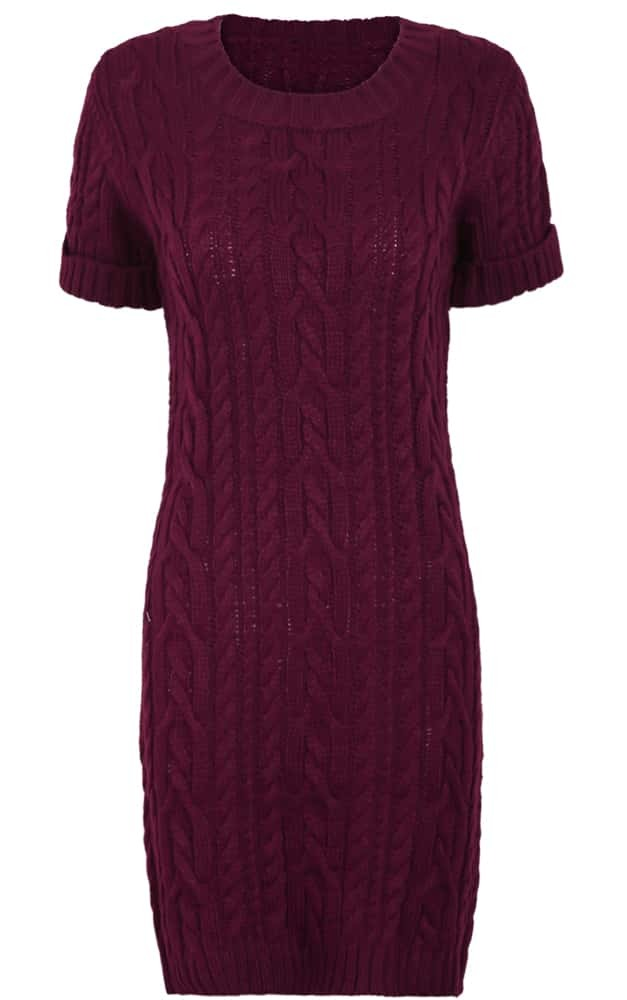 Burgundy Short Sleeve Cable Knit Sweater Dress -SheIn(Sheinside)