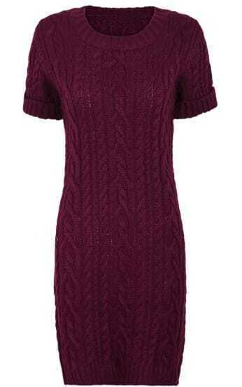 Burgundy Short Sleeve Cable Knit Sweater Dress