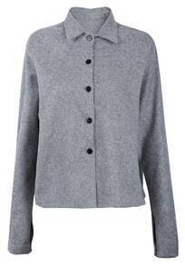 Grey Raglan Sleeve Lapel Cotton Linen Crop Coat