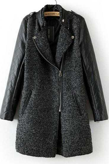 Grey Contrast Leather Quilted Sleeve Zipper Coat