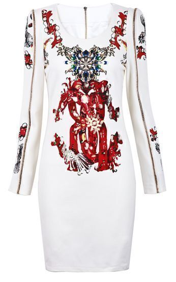 White Long Sleeve Zipper Embellishment Florals Print Dress